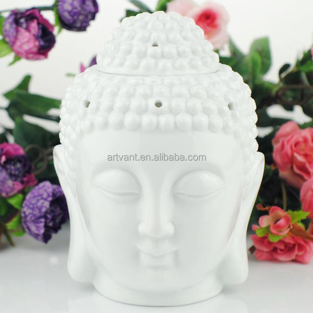 White Ceramic Fragance Oil Burner Buddha Head Aroma Buddha Incense Burner Indian Incense Buddha Tibetan Incense Burner