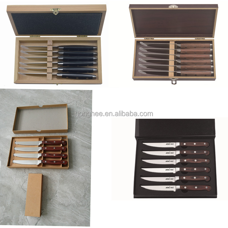 4pcs 6 pcs 12pcs Popular Wood Handle ABS handle Steak Knife Set With Gift Box