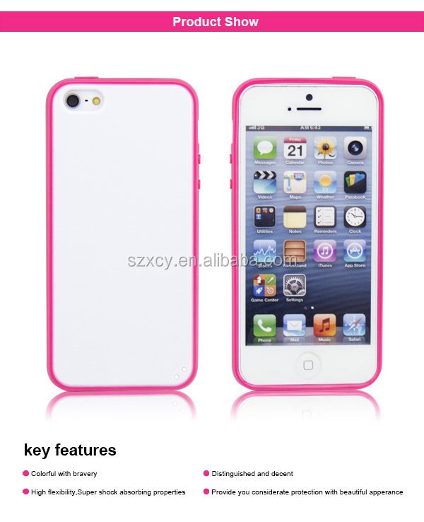 2 in 1 PC TPU blank printing mobile phone cover case for iphone 5
