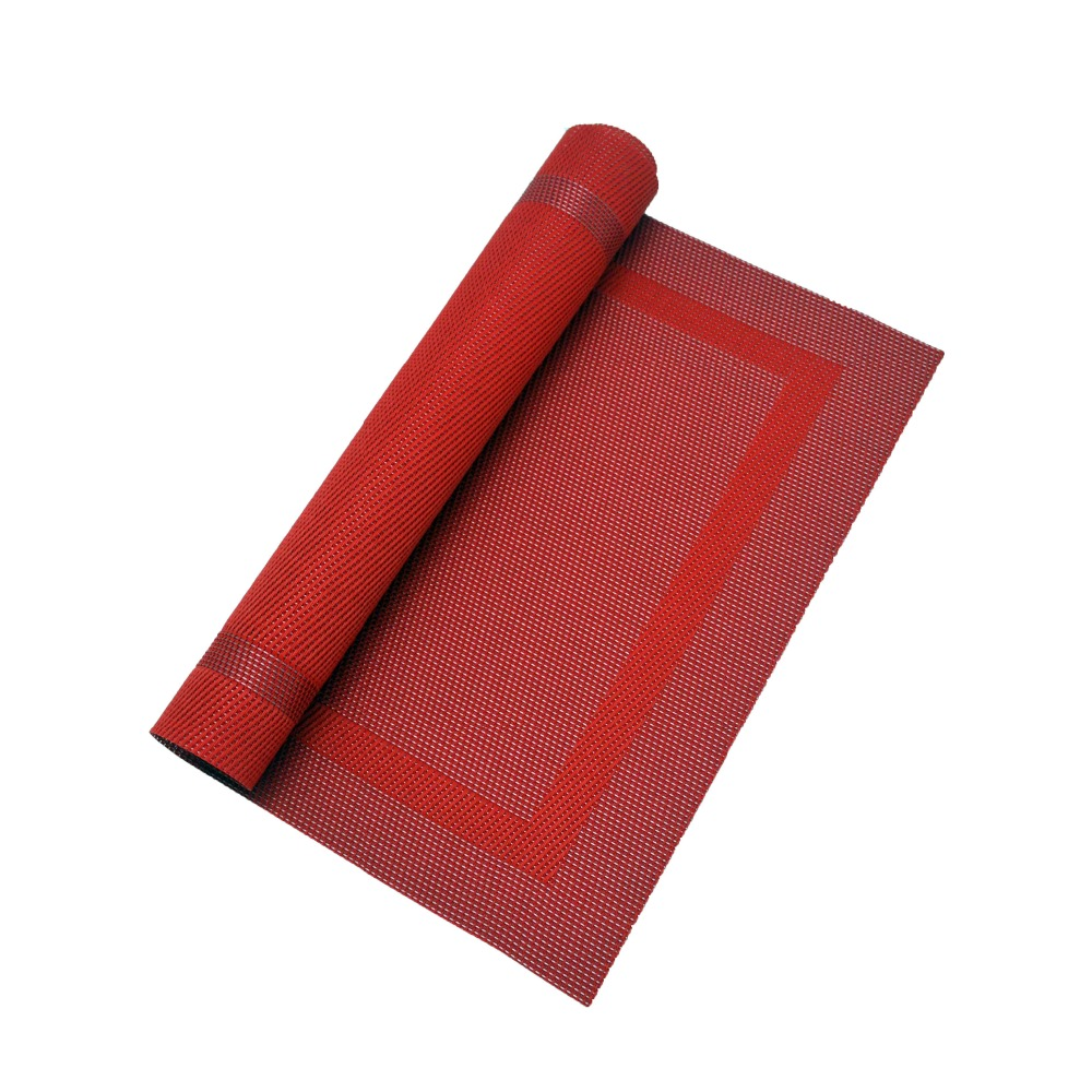 vinyl polyester table cover woven placemats red hotel breakfast buffet placemats anti slip drawer mat vinyl pvc tablemats