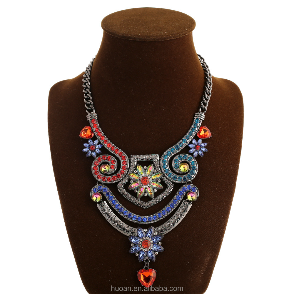 Wholesale chunky necklace fashion jewelry colorful beauty necklace