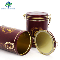 Best selling custom printed airtight round metal storage box with lid for tea coffee packaging coffee tin