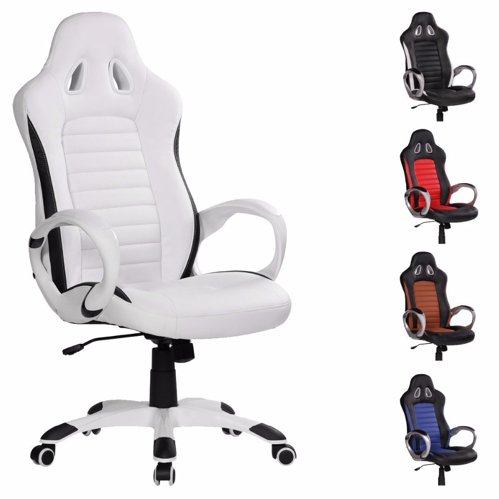 High back white leather gaming racing office chair with sports seat