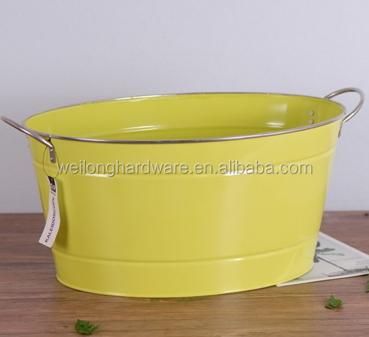 Powder Coating Large Oval Galvanized Metal Ice Beer Buckets Party Tub