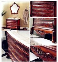 High-end Luxury Oak Solid Wood Bathroom Vanity Cabinets