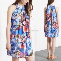 Custom designed relaxed fit oversize floral pattern print halter neck dress