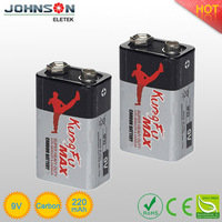 high quality 9v carbon zinc battery 6F22 super