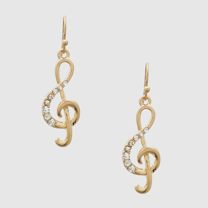 Music Note Symbol Crystal Drop Earrings Silver Gold Jewelry Whole Shipping Earring Product On