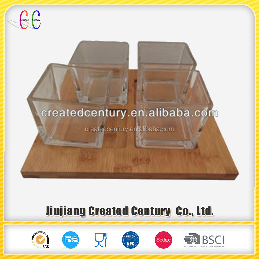 Glass appetizer set with wooden tray