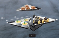 Triangle Stainless Steel Tray Food Display Stand / 3 Tired Cake Display Stand
