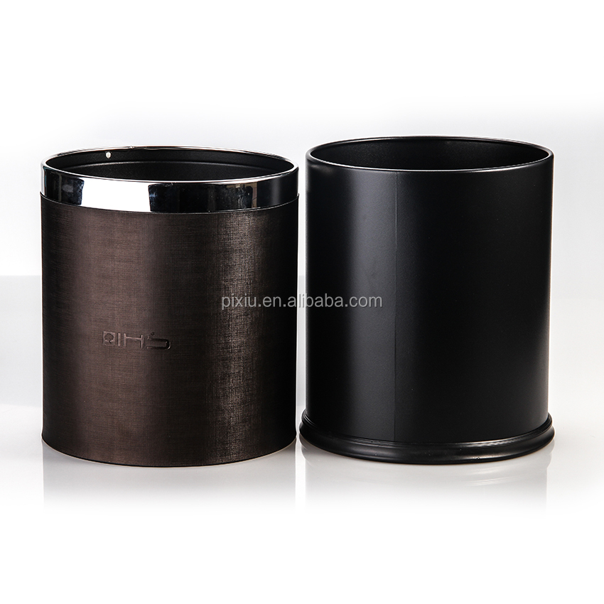 The Latest Products PU Leather Stainless Steel Trash Bin