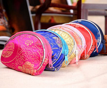 wholesale cheaper various colors brocade chinese silk jewelry pouch small coin bag zipper wallet small zipper coin purse