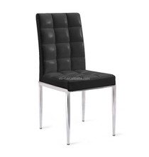 modern high back leather dining chair with stainless steel legs