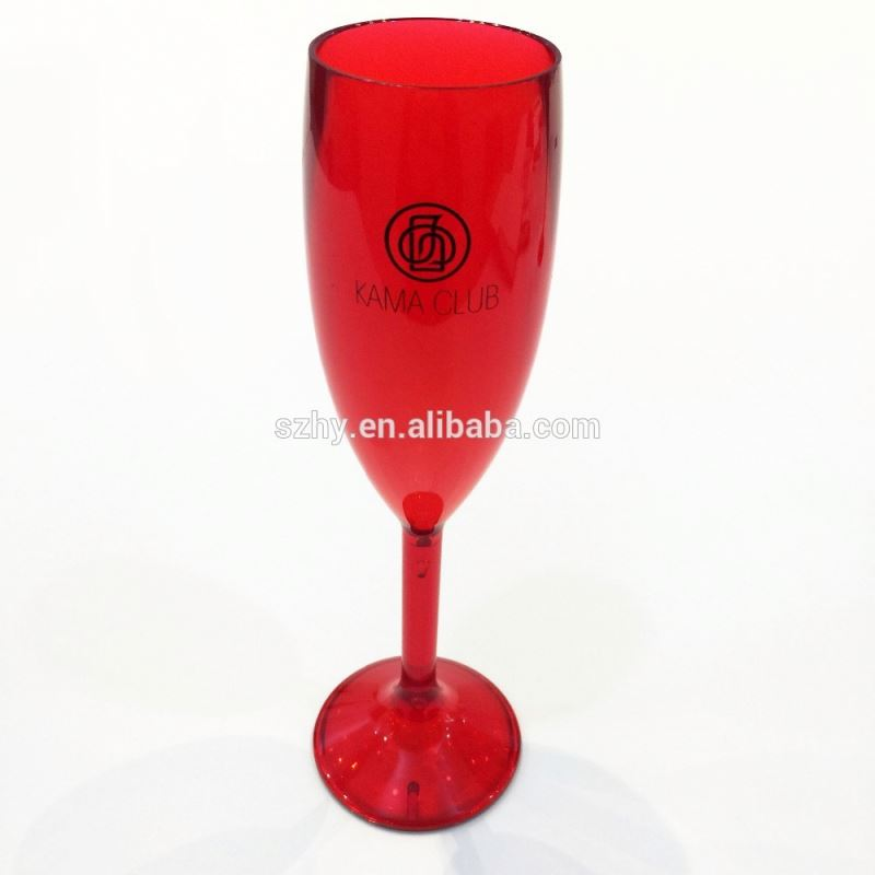 165ml Cheap plastic red Champagne glasses