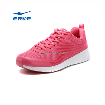 2017 new style breathable lighweight mesh pink grey black erke running shoes for womens