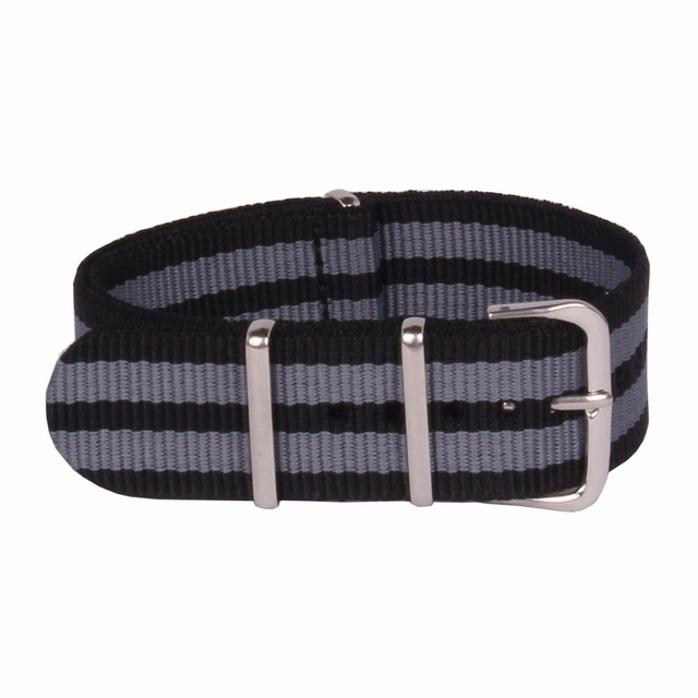 Wholesale 20 mm Multi Color Black Grey Army Sports nato fabric Nylon watchband Watch Strap accessories Bands Buckle belt 20mm