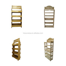 Professional customized logo/size store free standing wood bread display rack for sale