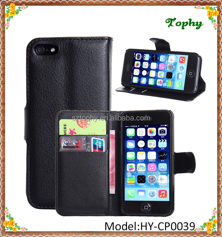 9 Colors PU Leather + PC Litchi Pattern Wallet Card Stand Cover Holster Magnetic Flip Phone Case For iphone 5s