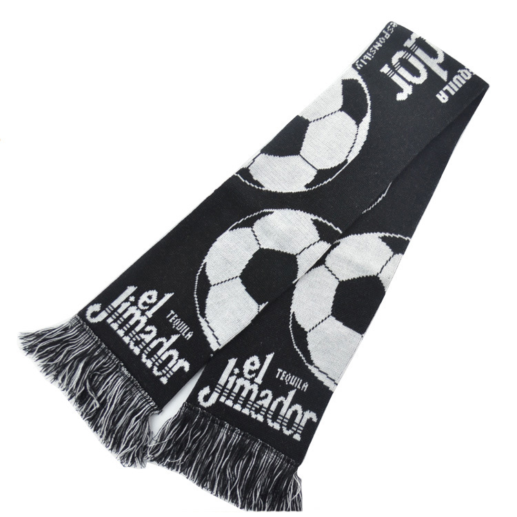 Wholesale black knitting pattern football fans scarf
