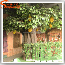 China factory large indoor decorative artificial fake plastic fiberglass jack fruit trees tropica fruit trees for sale