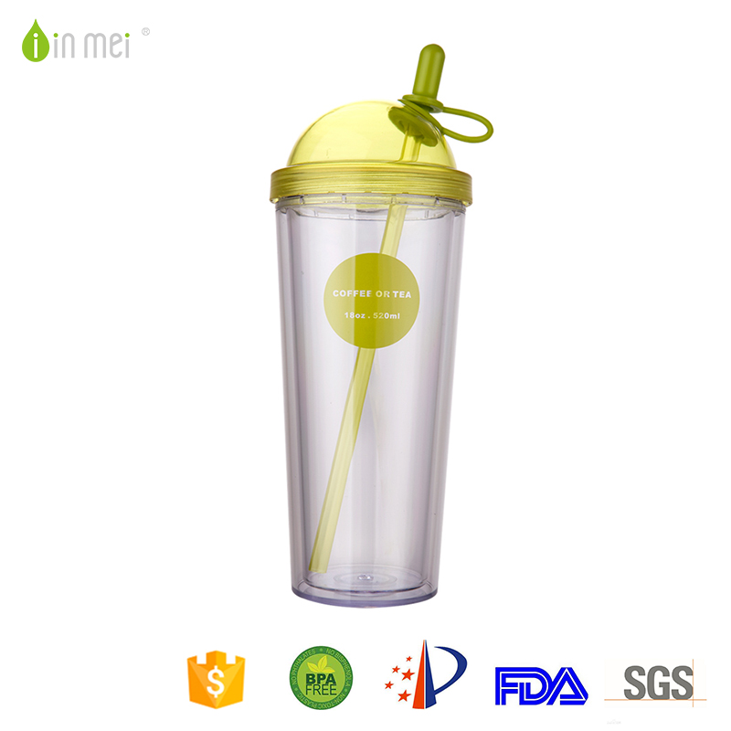 Plastic cap best sports water drink bottle with lid and straw