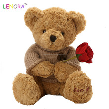 Hot promotion OEM design rosebud teddy bear wears a sweater with a badge