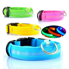 Nylon LED Pet Dog Collar Night Safety Flashing Glow In The Dark Dog Leash,Dogs Luminous Fluorescent Collars Pet Supplies