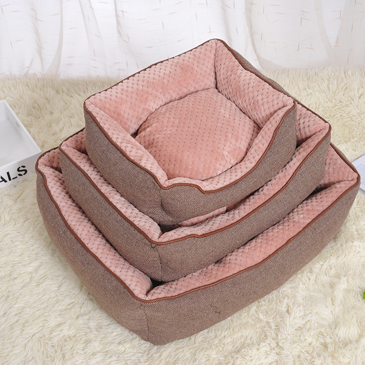 high quality luxury square dog bed large pet beds