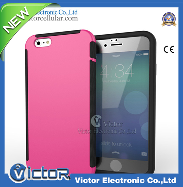 Unique Hybrid 3 in 1 TPU and PC Back Cover with Screen Protector Mobile phone Case for Iphone 6 Cellphone