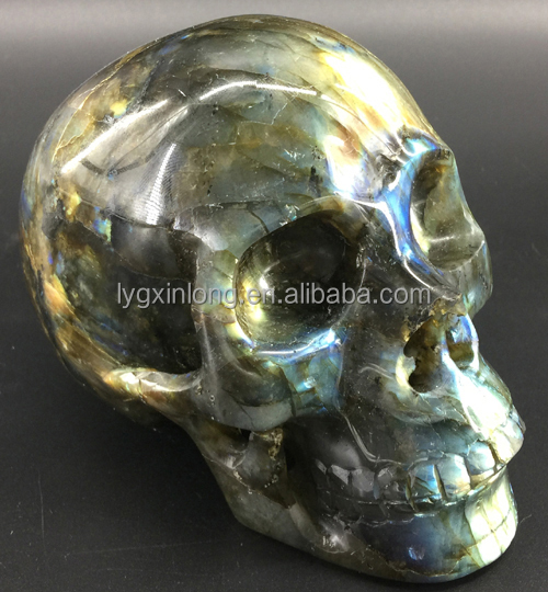 Hand Carved 2.0inch Natural Labradorite stones Quartz Heads Crystal Stone Skulls & Bone For Sale