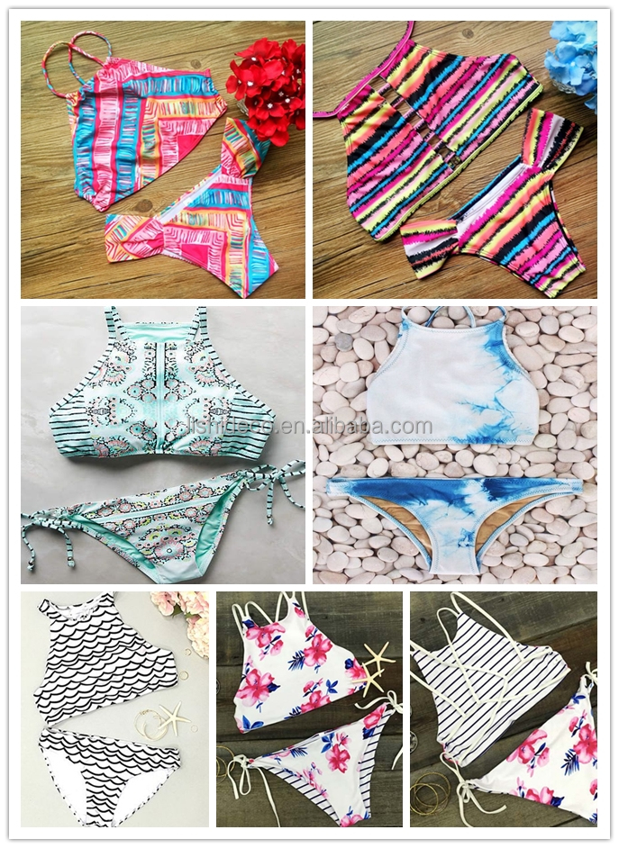 Various designs no moq high neck bikini