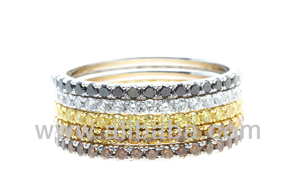 Blazing Five Natural Fancy Diamond Eternity Bands