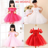 Cute baby girls Single strapless wedding dress children kids red bow birthday party puffy TUTU dresses AG-WD0051