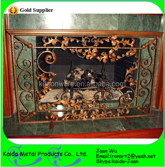 Simple & Cheap Wrought Iron Painted Fireplace Screens Design