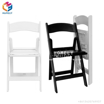 Wholesale garden white brown wedding party event outdoor furniture American padded wimbledon plastic resin folding chair