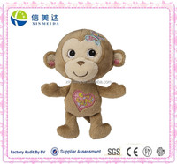 Pretty Cute Plush Girl Monkey with Embroideried Heart