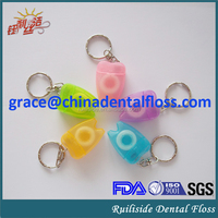 wholesale PTFE/nylon/dacron/UHMWPE material abrasive dental floss with keychain