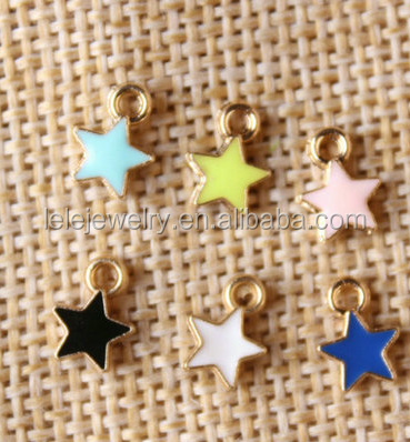 Fashion stainless steel charm me product new style enamel star charm wholesale metal star charm for necklace /bracelet