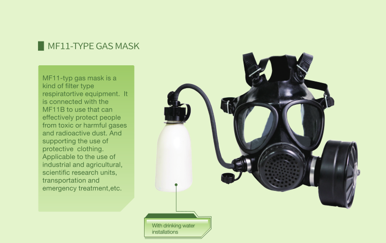 MF11 with drinking water installations full face gas mask