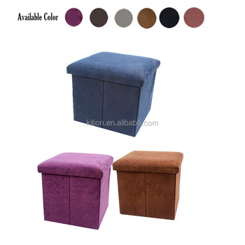 2017 best quality faux suede fabric ottoman