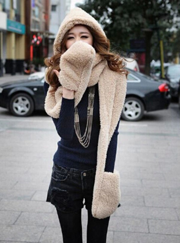HOT NEW Soft 1 Pc Cute 3 in1 Girls Wool Beanie Hat Scarf Gloves Wholesale Winter Warm Faux Fur 3 in 1 Women's Scarf Hat Gloves