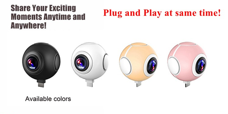 Mini wireless panoramic fisheye lens sport camera waterproof 360 camera for mobile