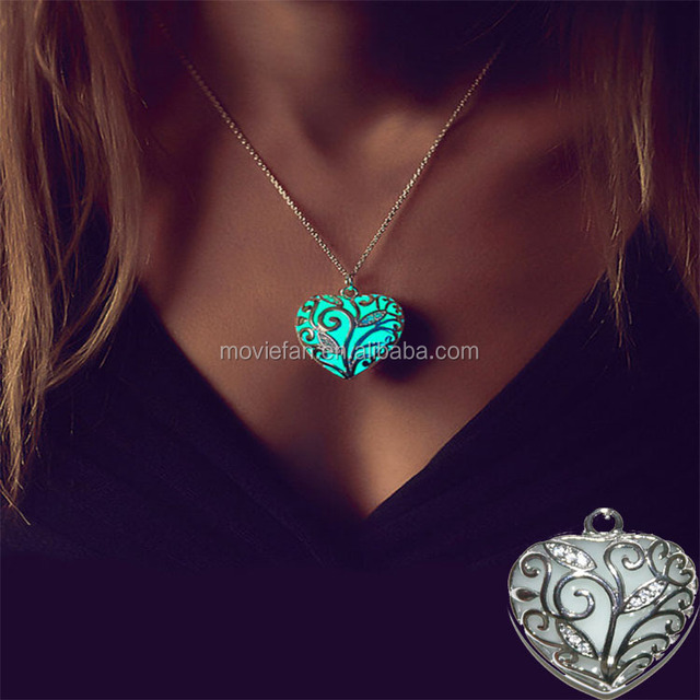 Anna Heart Necklace Blue Glow in the Dark Heart Necklace Fun Gift for Mom Her Teen