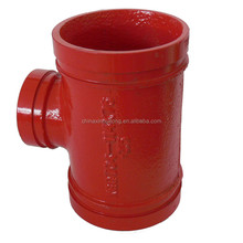 UL FM CE approval grooved reducing tee red epoxy painted widely used in fire fighting