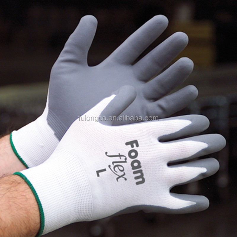 en388 nitrile coated white nylon polyester mechannical safe glove logo printing