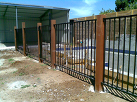 2015 hot sale black/wooden color powder coating aluminum garden fence