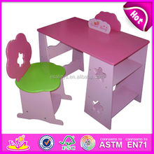 Wooden children writing desk,High quality multi-function children learning table and chair with book shelf and bookend WJ278940