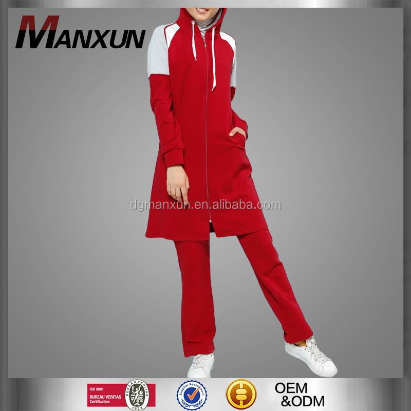 Manxun matching plain cotton tracksuit for muslim women islamic sportswear red red wine price in india