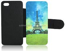 China wholesale Sublimation flip wallet leather phone case for iphone5/5S