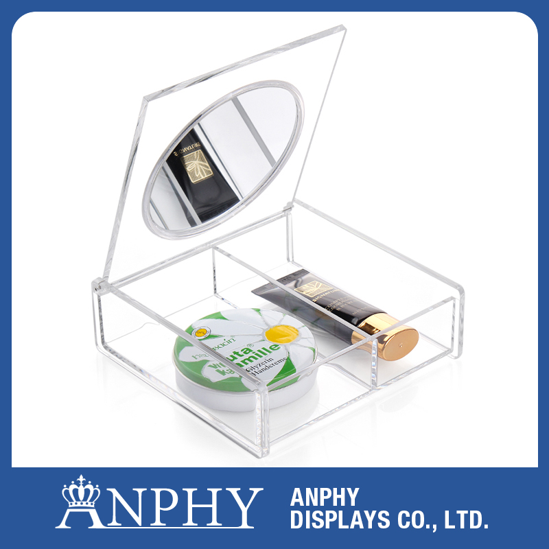Rectangle Clear Pretty Acrylic Makeup Storage Box With Lids & Mirror